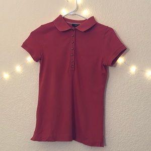 Orange Petite Short Sleeve Polo Shirt